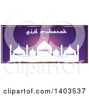 Clipart Of An Eid Mubarak Website Banner With A Silhouetted Mosque And Text On Purple Royalty Free Vector Illustration