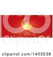 Clipart Of An Eid Mubarak Website Banner With A Silhouetted Mosque In A Crescent Moon And Text On Red Royalty Free Vector Illustration