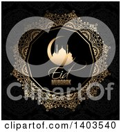 Clipart Of An Eid Mubarak Background With A Silhouetted Gold Mosque In A Crescent Moon And Text On Black Royalty Free Vector Illustration