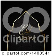 Clipart Of An Eid Mubarak Background With A Silhouetted Mosque And Text On Black Royalty Free Vector Illustration