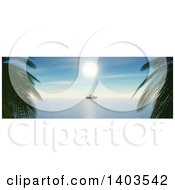 Clipart Of A 3d Yacht On The Ocean Framed By Palms Royalty Free Illustration by KJ Pargeter
