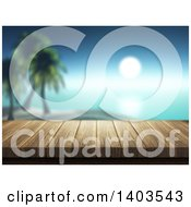 Clipart Of A 3d Wood Deck With A View Of A Tropical Island Against A Sunset Royalty Free Illustration
