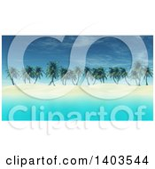 Clipart Of A 3d Island With White Sand Palm Trees And Blue Water Royalty Free Illustration