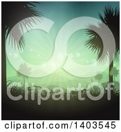 Clipart Of Silhouetted Palm Trees Framing A Landscape With Hills Grasses And Sunset Flares Royalty Free Vector Illustration