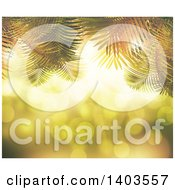 Clipart Of A Background Of 3d Palms Against Bokeh Flares Royalty Free Illustration