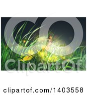 Clipart Of A 3d Fairy In Grasses And Flowers Royalty Free Illustration by KJ Pargeter