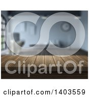 Clipart Of A Blurred Interior With A 3d Wood Counter Or Bar Royalty Free Illustration by KJ Pargeter