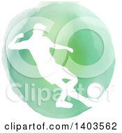 Clipart Of A White Silhouetted Soccer Player Over A Green Watercolor Circle On A White Background Royalty Free Vector Illustration