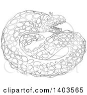 Clipart Of A Black And White Lineart Moray Eel Royalty Free Vector Illustration by Alex Bannykh