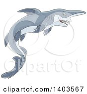 Clipart Of A Cartoon Swimming Goblin Sharks Royalty Free Vector Illustration