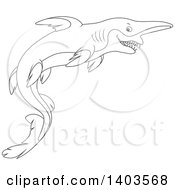 Clipart Of A Black And White Lineart Swimming Goblin Sharks Royalty Free Vector Illustration