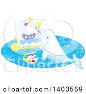 Clipart Of A White Beluga Whale Painting A Sailboat On Canvas Royalty Free Vector Illustration