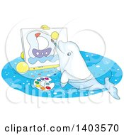 Clipart Of A Cartoon Cute Beluga Whale Painting A Sailboat On Canvas Royalty Free Vector Illustration
