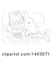 Clipart Of A Black And White Lineart Cute Beluga Whale Painting A Sailboat On Canvas Royalty Free Vector Illustration