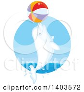 Clipart Of A White Beluga Whale Jumping With A Beach Ball Royalty Free Vector Illustration