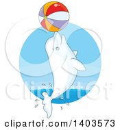 Clipart Of A Cartoon Cute Beluga Whale Jumping With A Beach Ball Royalty Free Vector Illustration