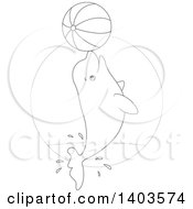 Clipart Of A Black And White Lineart Beluga Whale Jumping With A Beach Ball Royalty Free Vector Illustration
