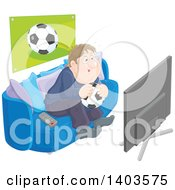 Chubby Caucasian Man Sitting On A Couch Holding A Soccer Ball And Watching Tv