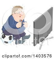 Poster, Art Print Of Chubby Caucasian Man Sitting On A Soccer Ball And Watching Tv
