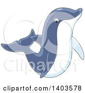 Clipart Of A Cartoon Cute Dolphin Swimming Or Jumping Royalty Free Vector Illustration