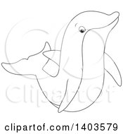 Clipart Of A Black And White Lineart Dolphin Swimming Or Jumping Royalty Free Vector Illustration by Alex Bannykh