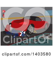 Clipart Of Male Mechanics Working On A Car In A Garage Royalty Free Vector Illustration