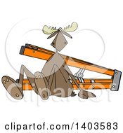 Clipart Of A Cartoon Moose After Falling Off Of A Ladder Royalty Free Vector Illustration by djart