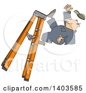 Cartoon Caucasian Male Worker Falling Off Of A Ladder