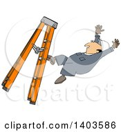 Cartoon Caucasian Male Worker Falling From A Ladder