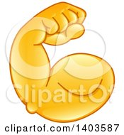 Clipart Of A Cartoon Emoji Arm Flexing Its Muscles Royalty Free Vector Illustration by yayayoyo