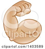 Clipart Of A Cartoon Emoji Arm Flexing Its Muscles Royalty Free Vector Illustration