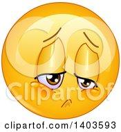 Clipart Of A Cartoon Sad Yellow Smiley Face Emoij Emoticon Royalty Free Vector Illustration