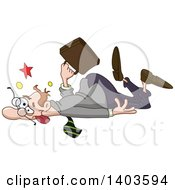 Cartoon Clumsy Caucasian Man Collapsing Or Falling