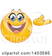 Clipart Of A Cartoon Yellow Smiley Face Emoij Emoticon Presenting Royalty Free Vector Illustration
