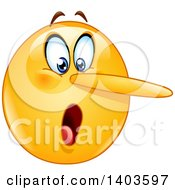 Clipart Of A Cartoon Lying Yellow Smiley Face Emoij Emoticon With A Growing Nose Royalty Free Vector Illustration by yayayoyo