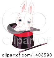 Clipart Of A Cute Blue Eyed White Bunny Rabbit In A Magicians Top Hat Royalty Free Vector Illustration