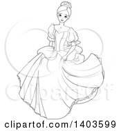 Clipart Of A Black And White Lineart Worried Princess Cinderella Royalty Free Vector Illustration
