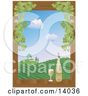 Poster, Art Print Of Full Glass Of White Wine Sitting On A Wooden Window Sill Framed By Green Grapes Beside A Wine Bottle Overlooking A View On A Hilly Vineyard And Winery House Under A Blue Sky With White Puffy Clouds