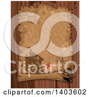 Clipart Of An Aged Parchment Pirate Treasure Map Scroll Over Wood Royalty Free Vector Illustration by Pushkin
