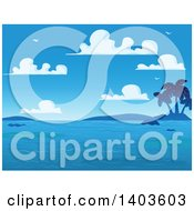 Clipart Of A Blue Sky With Puffy Clouds And Gulls Over Hills A Tropical Island And Ocean Royalty Free Vector Illustration