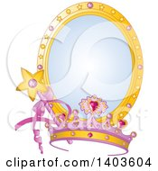 Clipart Of A Princess Tiara And Magic Wand Over A Mirror Royalty Free Vector Illustration by Pushkin
