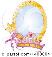 Princess Tiara And Magic Wand Over A Mirror