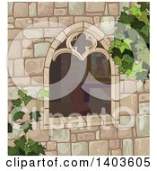 Clipart Of A Medieval Castle Window With Ivy Royalty Free Vector Illustration by Pushkin