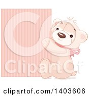 Clipart Of A Cute Teddy Bear Wearing A Pink Bow And Hugging A Sign Royalty Free Vector Illustration