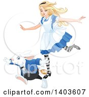 Clipart Of Alice In Wonderland Running With The White Rabbit Royalty Free Vector Illustration by Pushkin