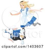 Alice In Wonderland Running With The White Rabbit