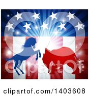 Clipart Of A Silhouetted Political Aggressive Democratic Donkey Or Horse And Republican Elephant Battling Over An American Flag And Burst Royalty Free Vector Illustration