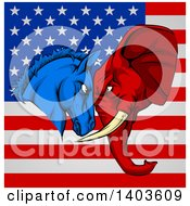 Clipart Of A Political Aggressive Democratic Donkey Or Horse And Republican Elephant Butting Heads Over An American Flag Royalty Free Vector Illustration