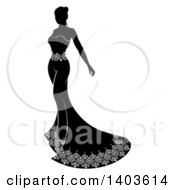 Clipart Of A Silhouetted Black And White Bride In Her Dress Royalty Free Vector Illustration