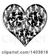 Clipart Of A Black Heart Formed Of White Silhouetted Soccer Players Royalty Free Vector Illustration